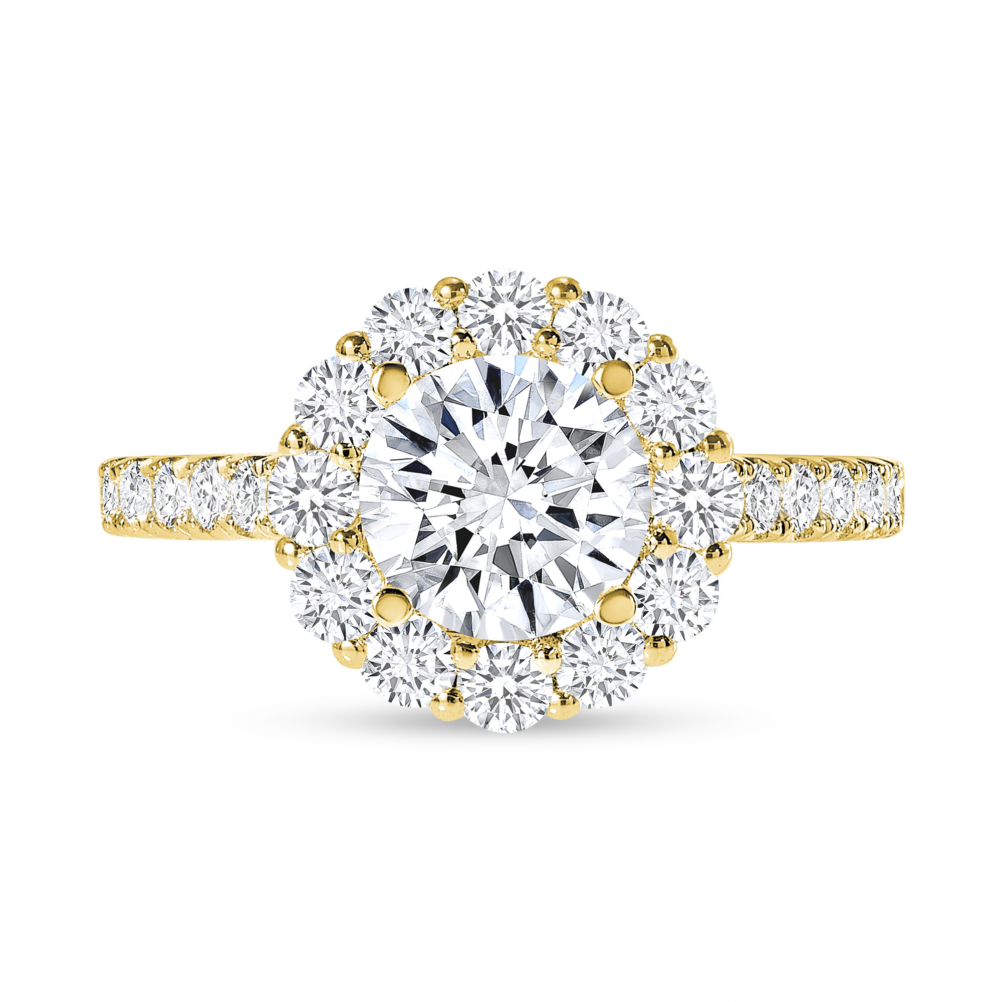 stackable halo round diamond engagement ring yellow gold