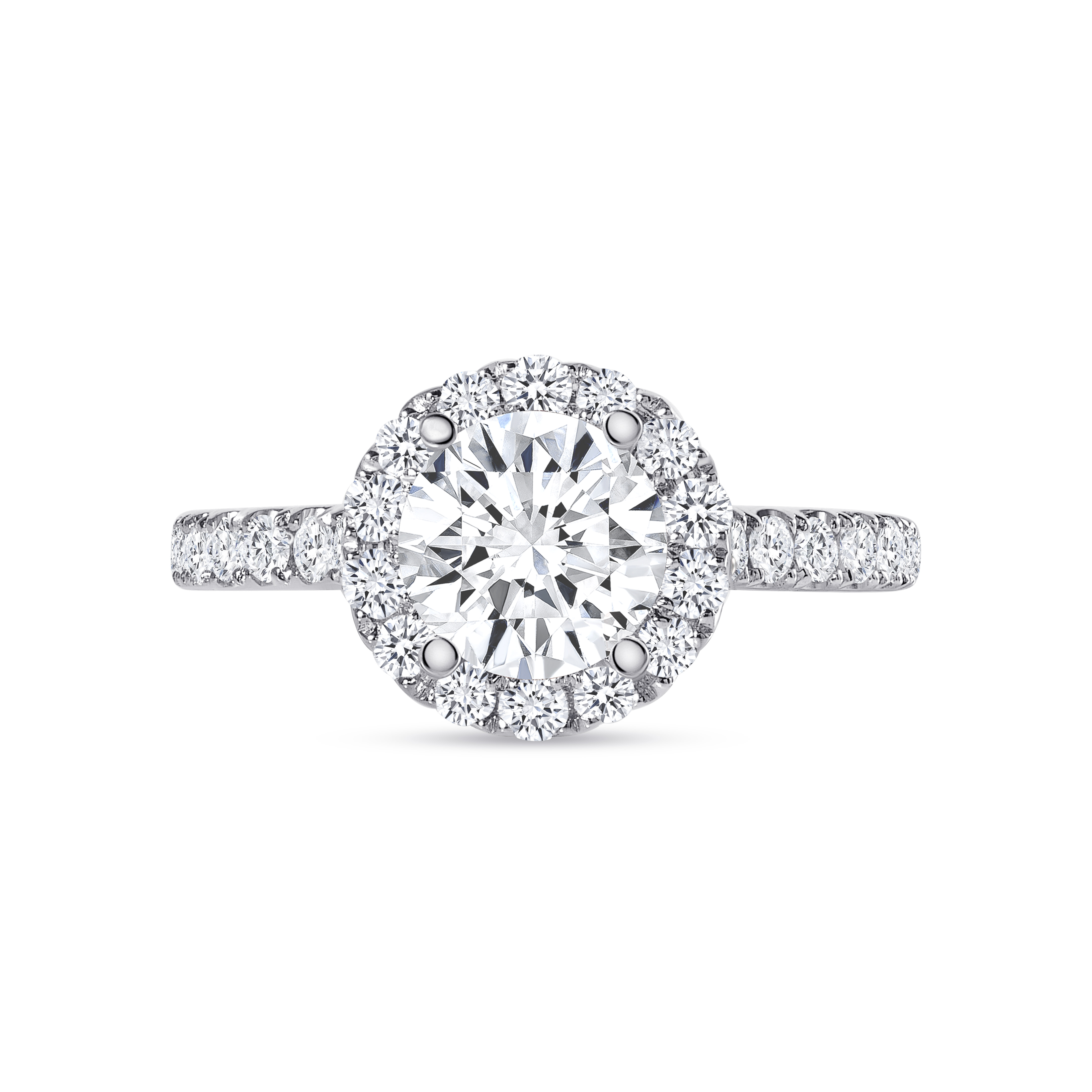 small halo round diamond stackable engagement ring white gold
