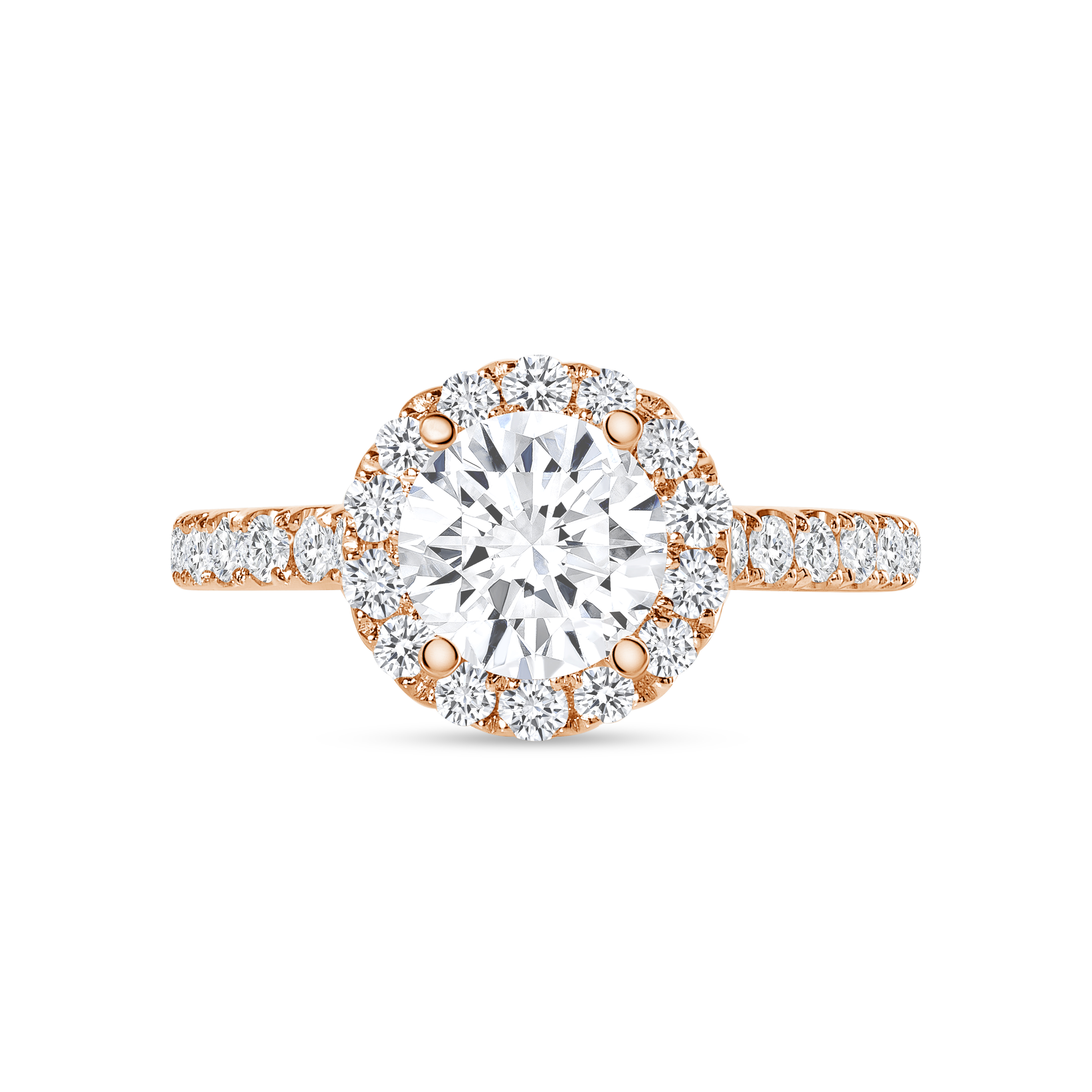 small halo round diamond stackable engagement ring rose gold