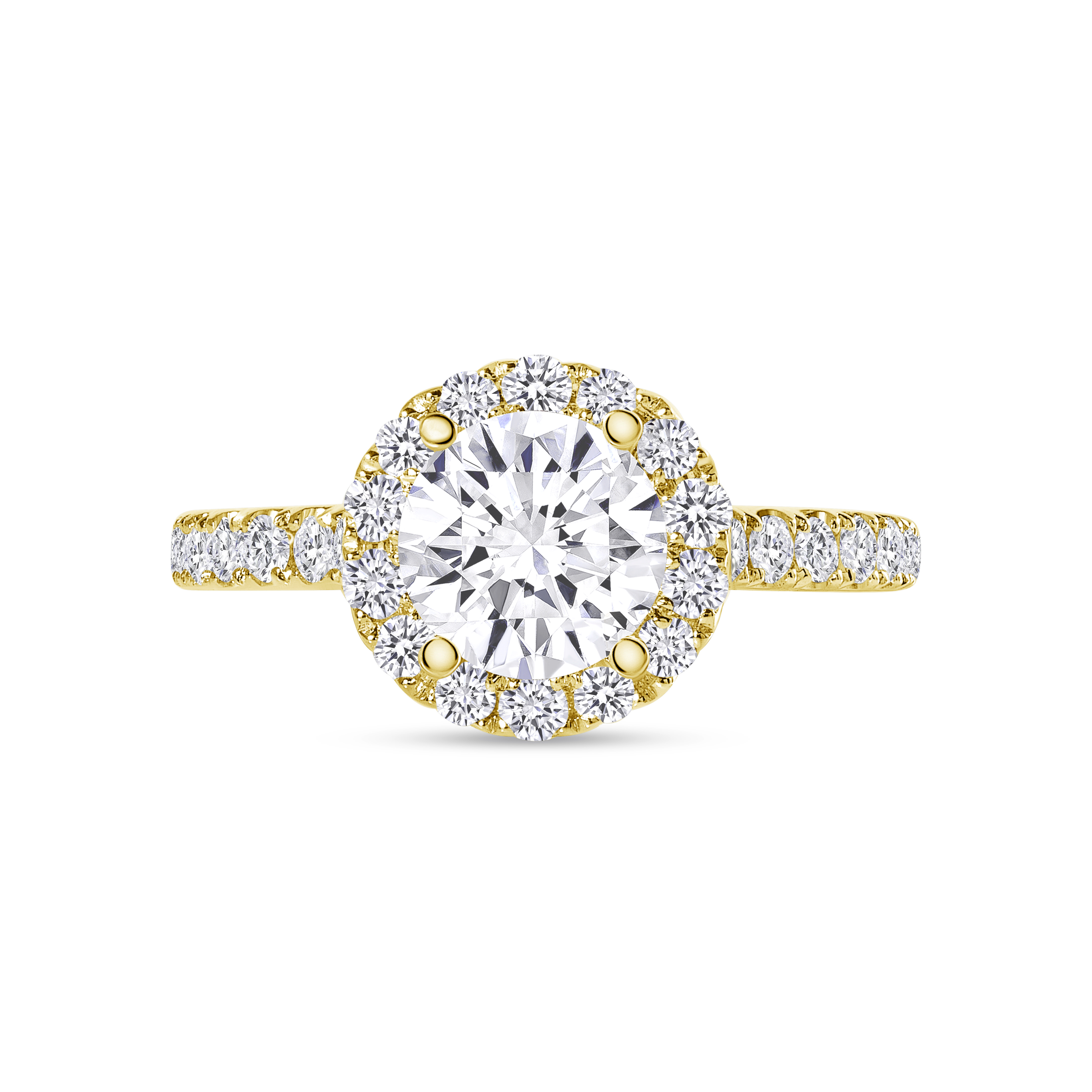small halo round diamond stackable engagement ring yellow gold