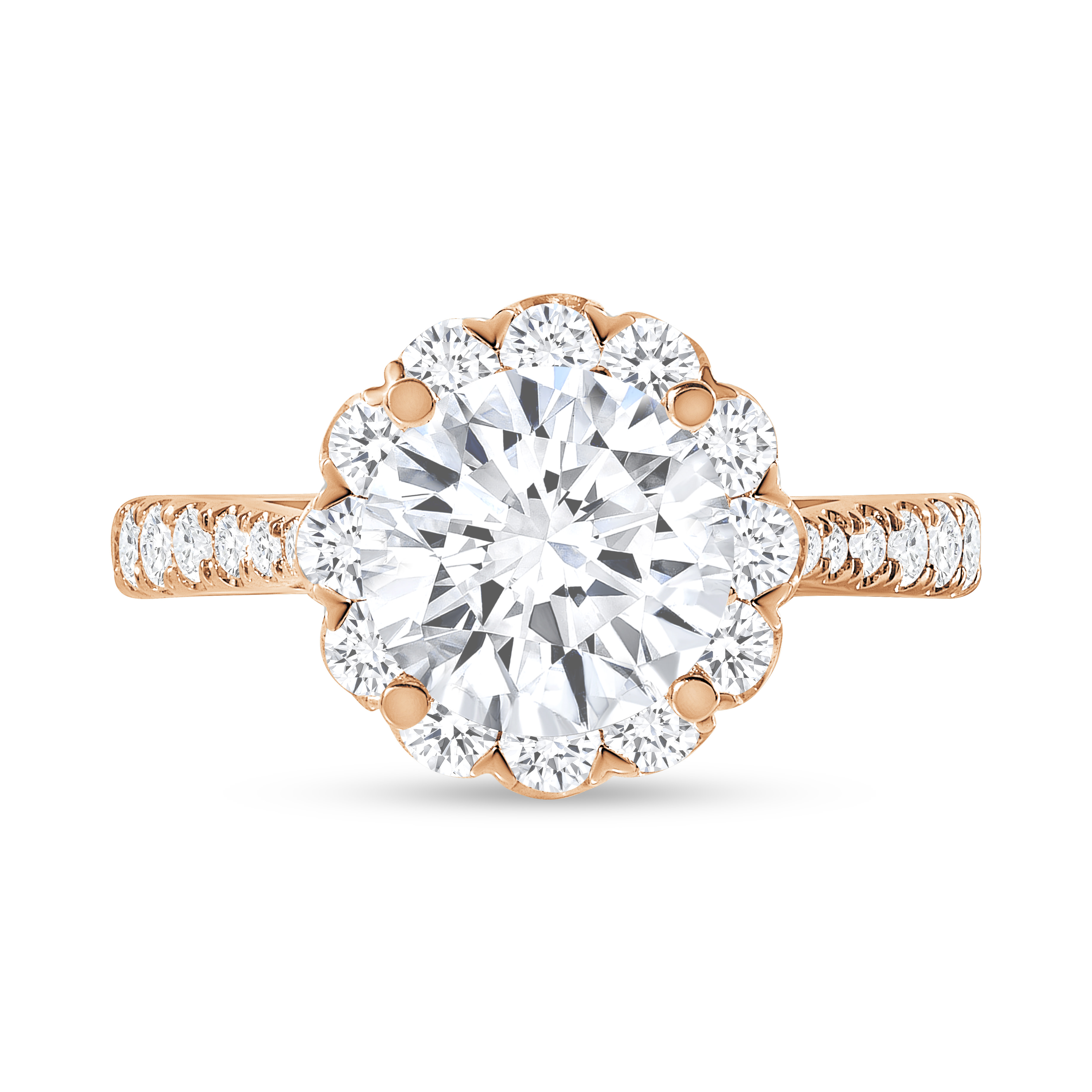 round floral halo round diamond engagement ring rose gold