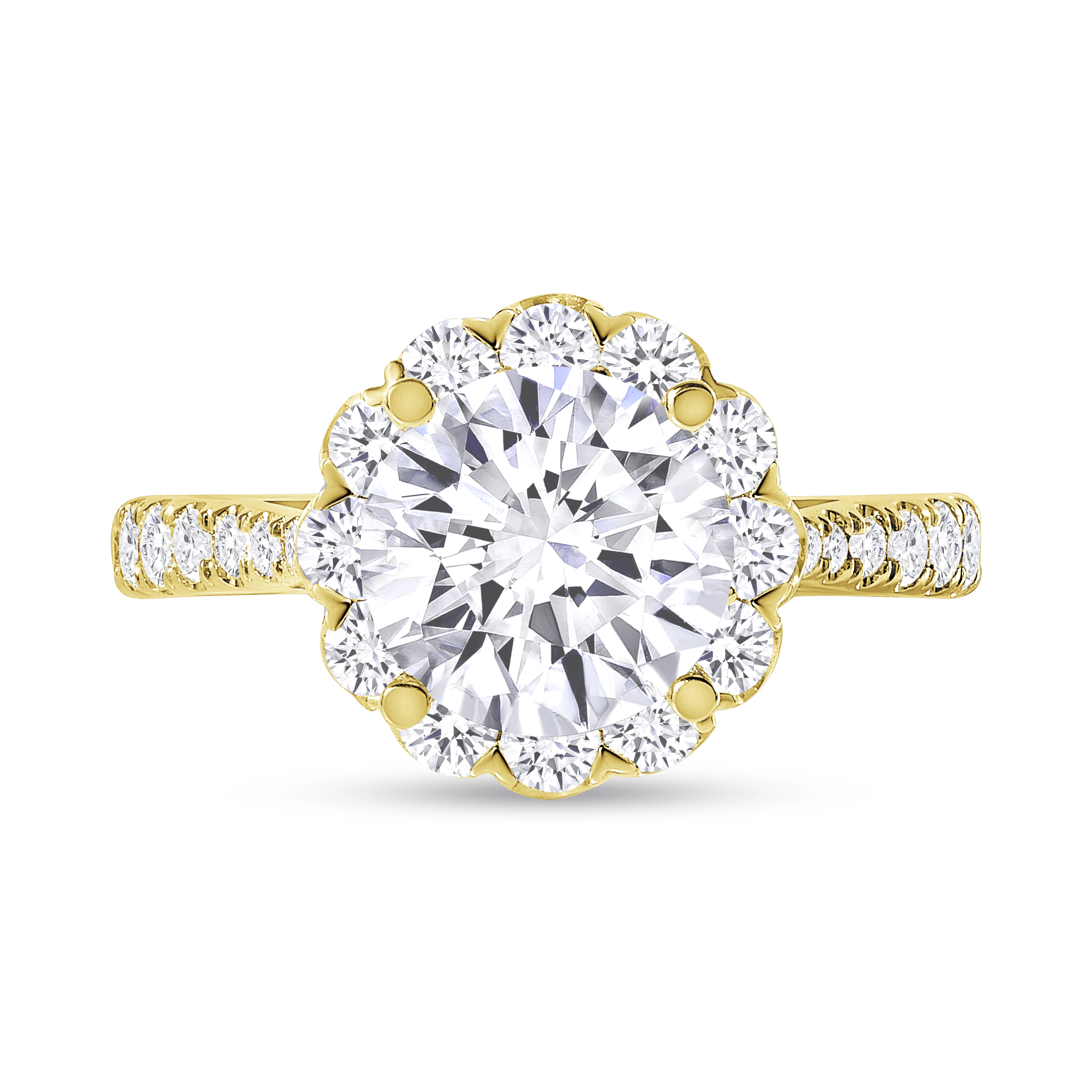 round floral halo round diamond engagement ring yellow gold