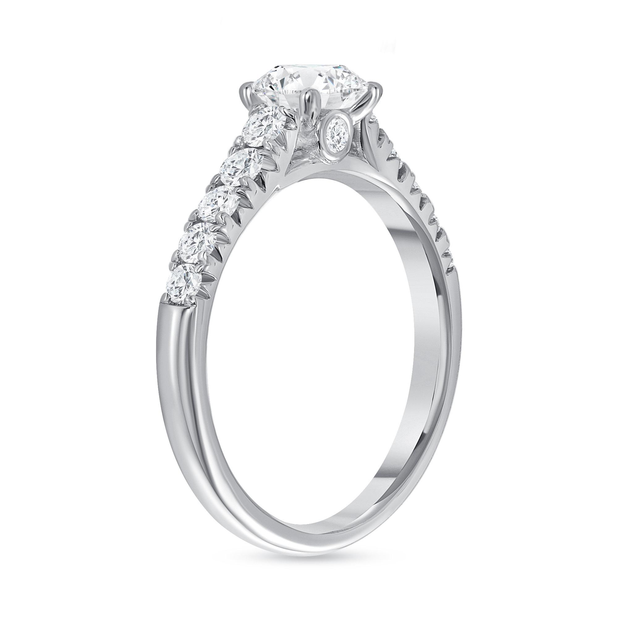 prong setting engagement ring  white gold