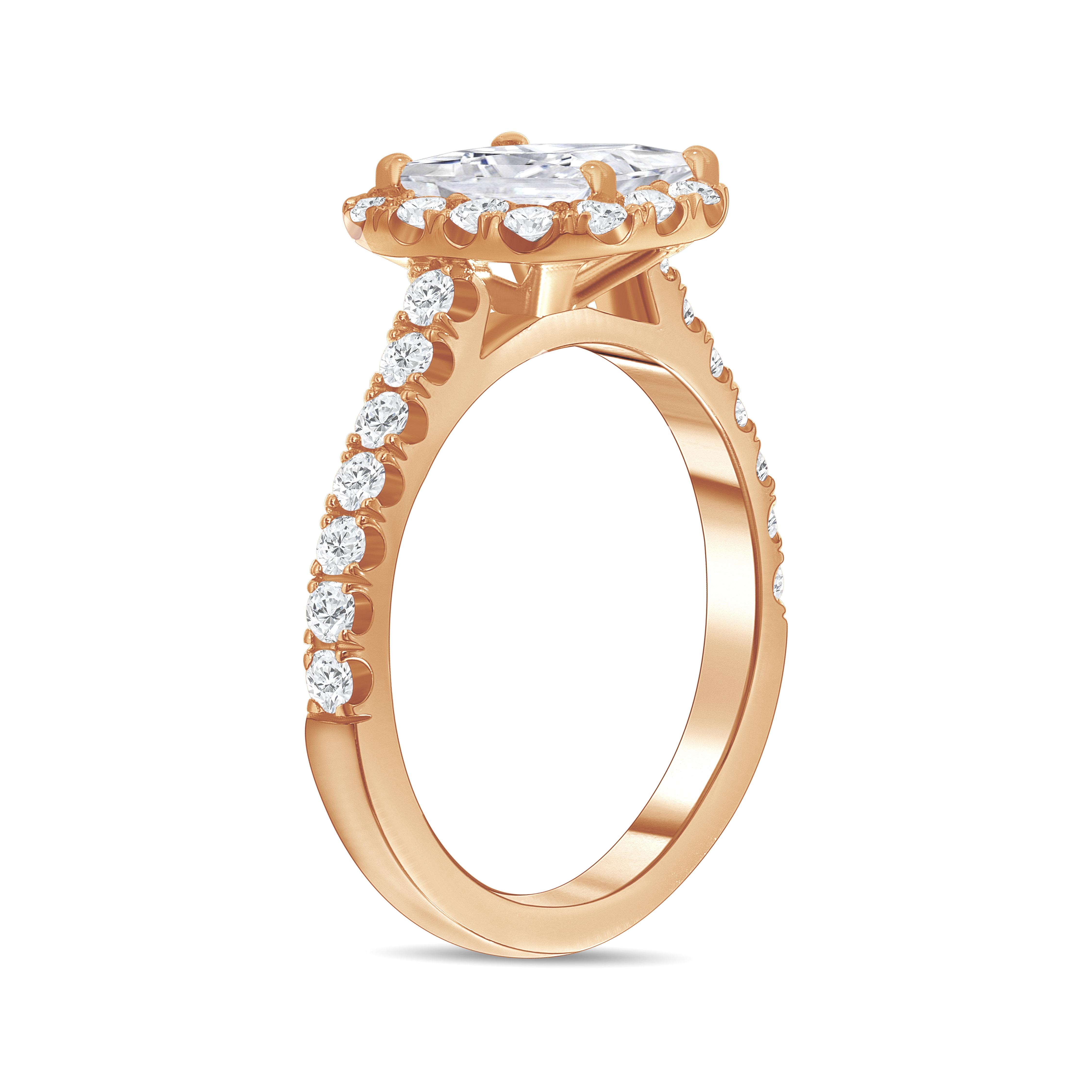 asscher cut diamond halo engagement ring rose gold