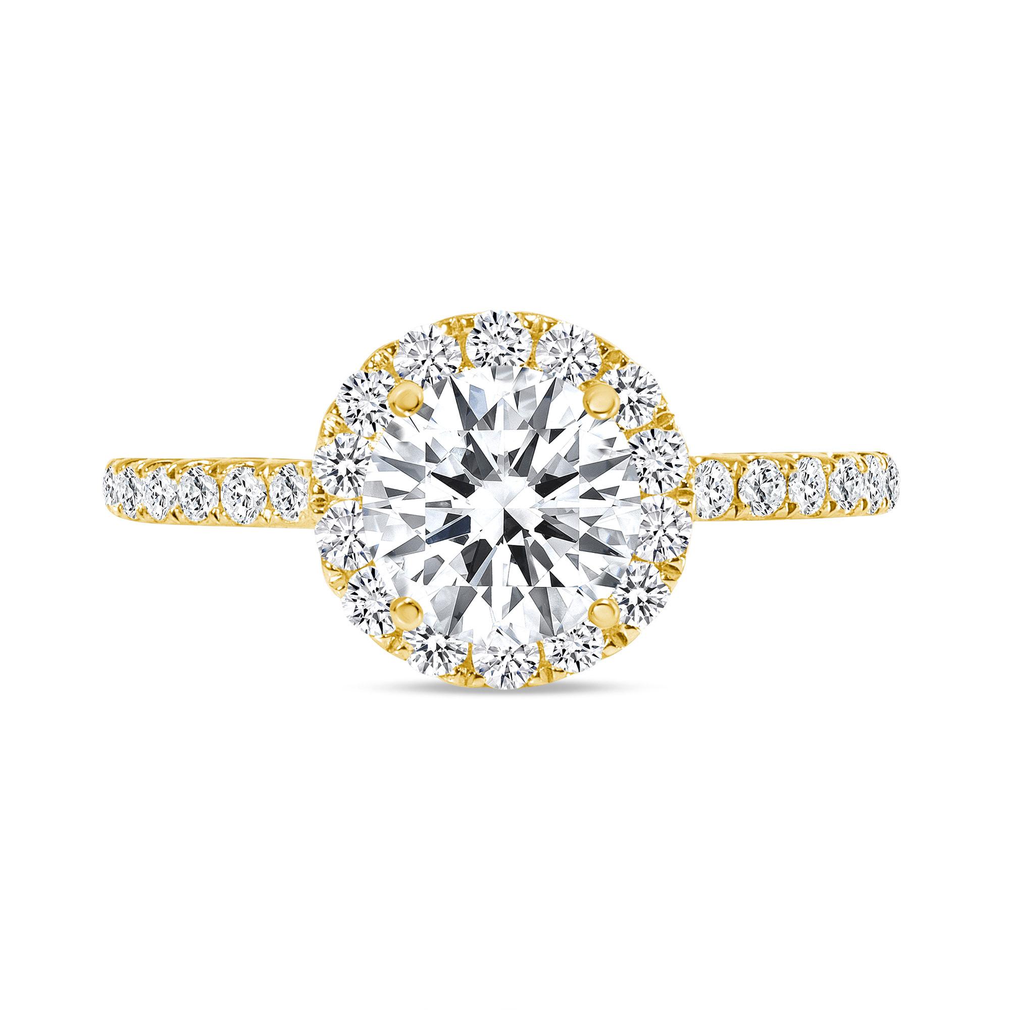 round cut halo diamond engagement ring gold