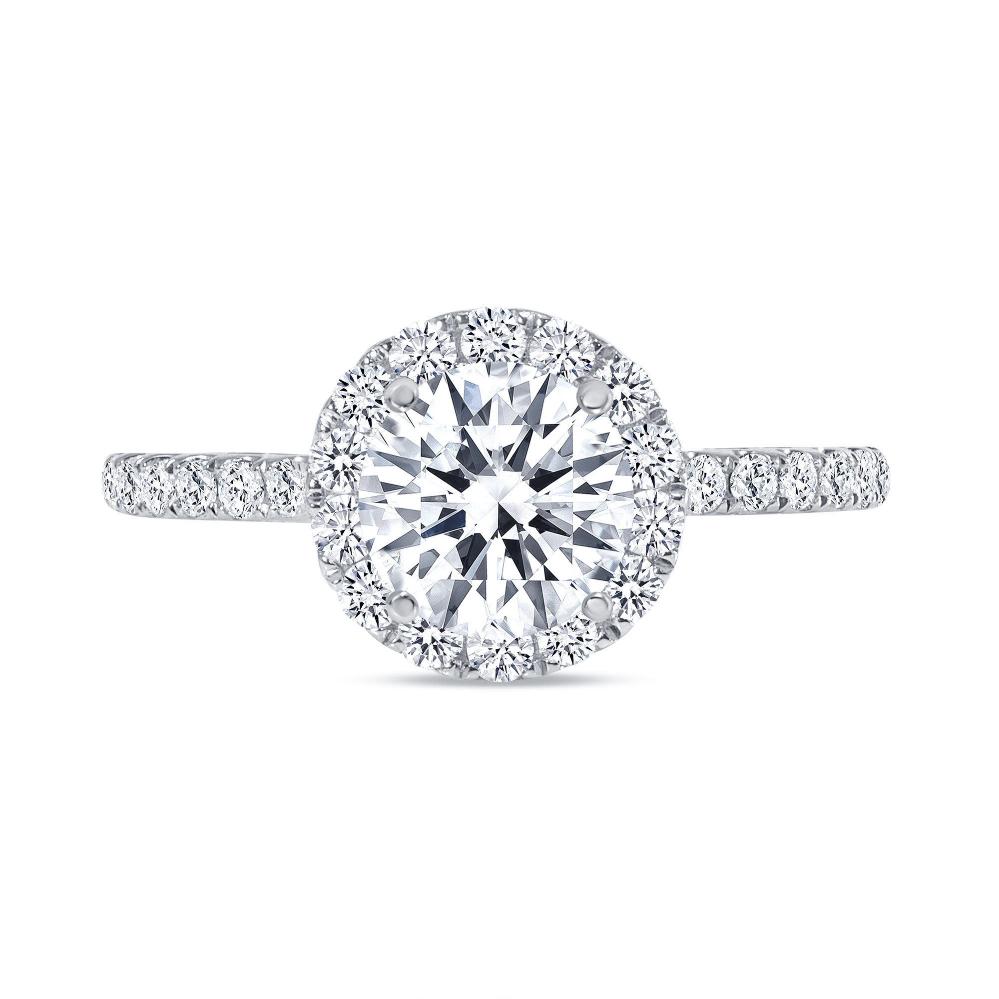 round cut halo diamond engagement ring white gold