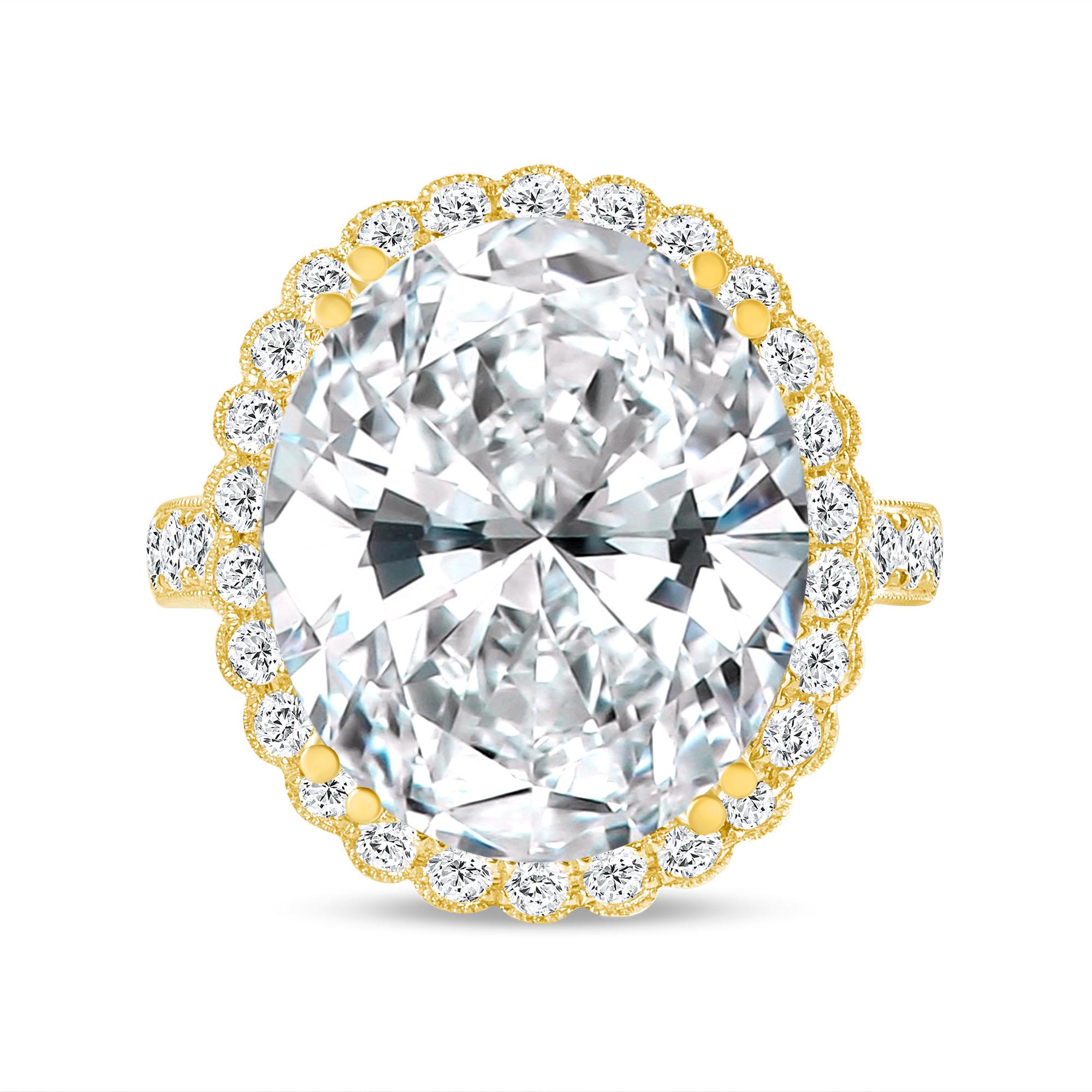 oval cut halo diamond engagement ring yellow gold