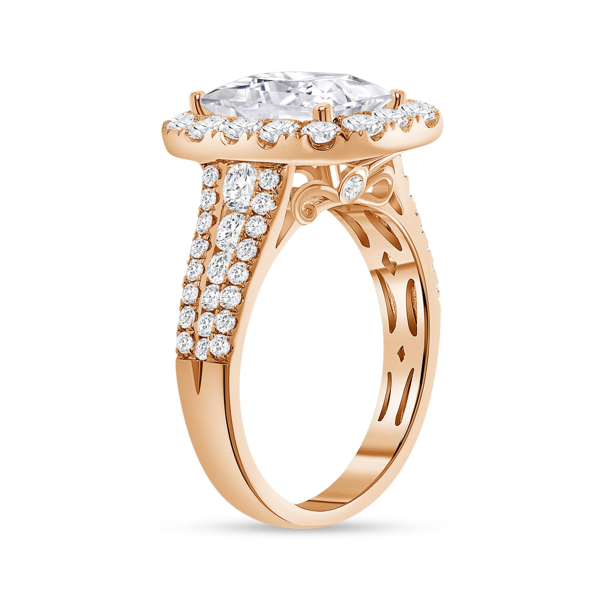 emerald cut halo diamond ring rose gold