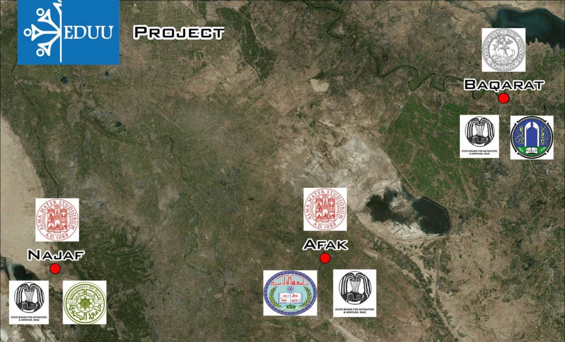 Survey area of UNIBO – QADIS field project with main archaeological sites. EDUU locations and Partners