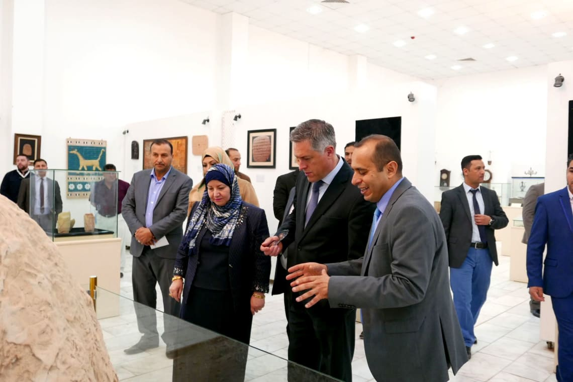 Ambassador Simmonet visiting the University of Qadisiyah Museum with Prof. Ferdous Al-Turaihy and project member Prof. Mohammed Abdulsada, University of Qadisiyah