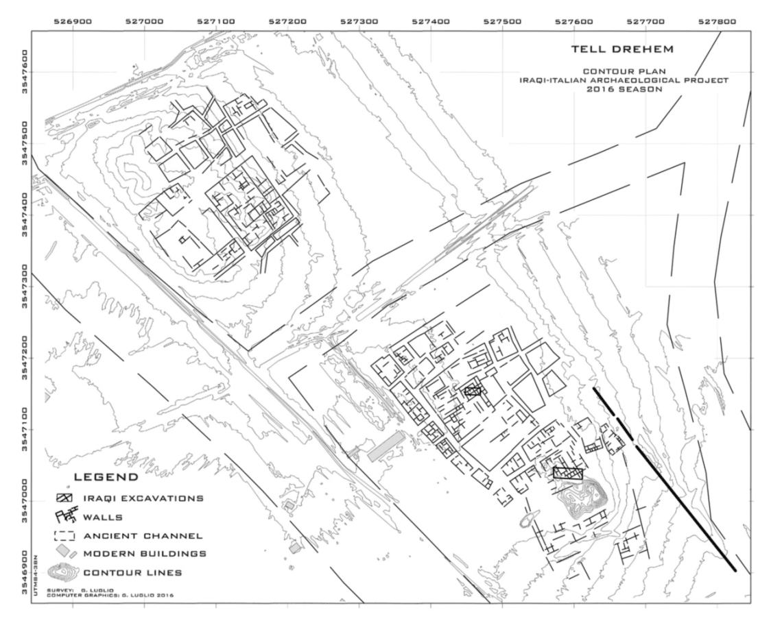 Layout of the site of Tell Drehem – the ancient city of Puzrish Dagan, administrative capital of the Ur III kingdom – according to the new UNIBO surveys