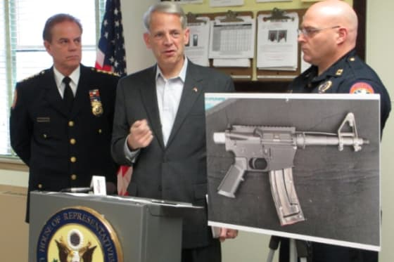 Photo: Congressman Steve Israel at a press conference last month, featuring the 3D printing of guns