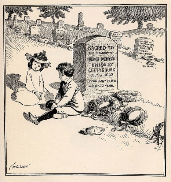 """""""On Decoration Day"""" Political cartoon c 1900. Caption: """"You bet I'm goin' to be a soldier, too, like my Uncle David, when I grow up."""" Source: wikimedia commons"""