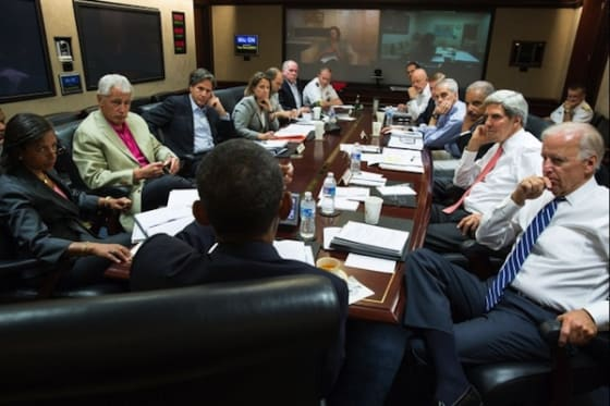 President Barack Obama meets in the Situation Room with his national security advisors to discuss strategy in Syria, Saturday, Aug. 31, 2013. (Official White House Photo by Pete Souza)