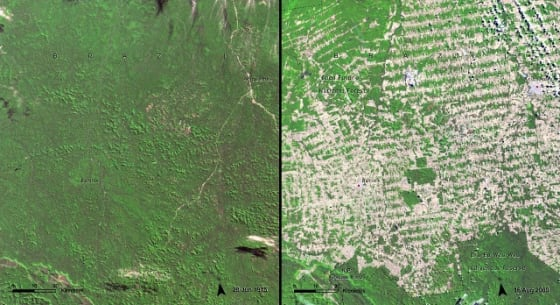 Rondônia in the Brazilian Amazon. Left June 1975, Right August 2009 // Credit: United Nations Environment Programme (UNEP). From Latin America and the Caribbean Atlas of our Changing Environment (2010)