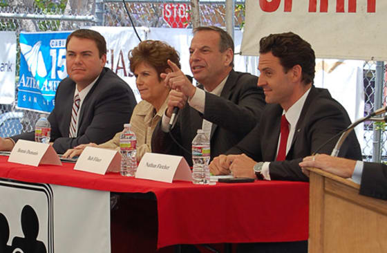 (from left to right) Carl DeMaio, Bonnie Dumanis, Bob Filner, and Nathan Fletcher