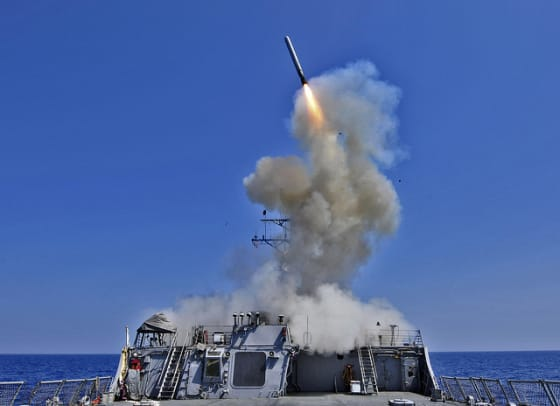 A U.S. Navy Destroyer fires a Tomohawk Cruise Missile.