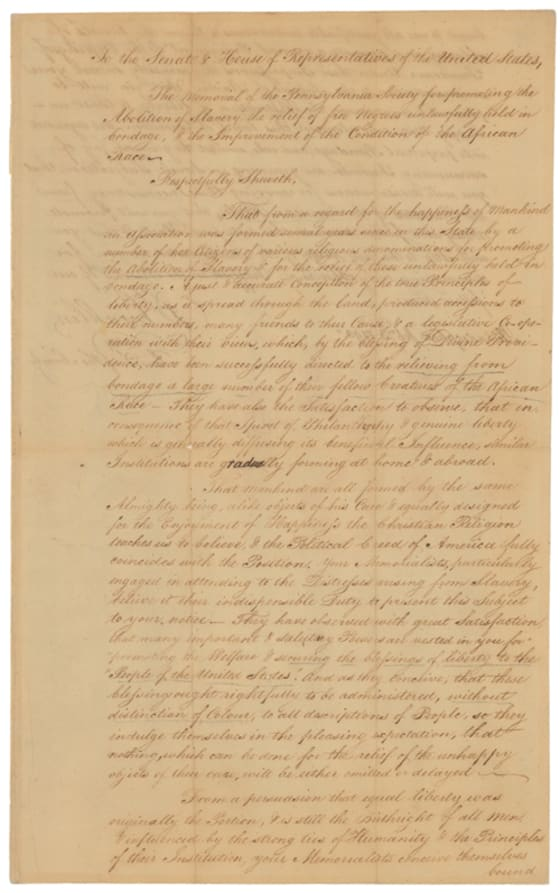Front side of Petition from the Pennsylvania Society for the Abolition of Slavery, signed by Benjamin Franklin, President of the Pennsylvania Society, February 3, 1790, Records of the United States Senate, Center for Legislative Archives.