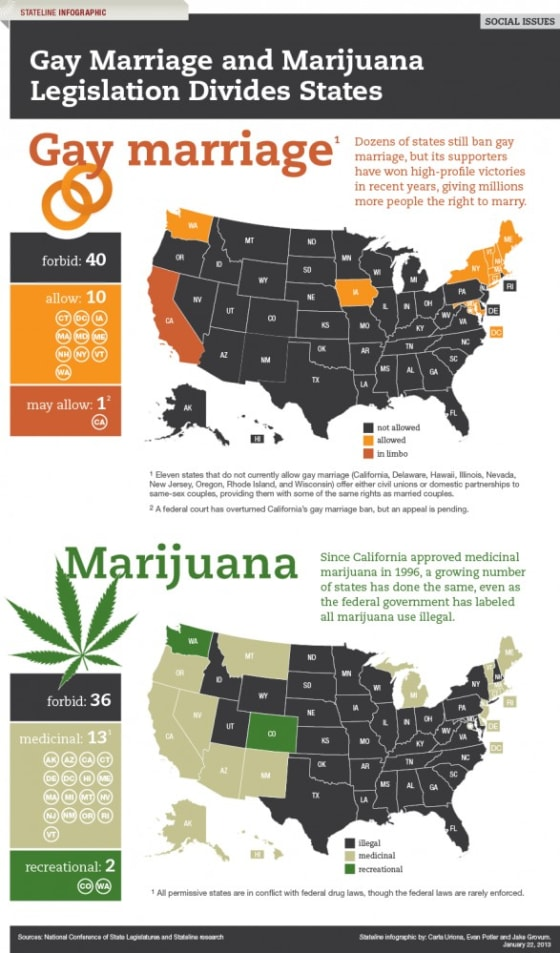Gay Marriage and Marijuana Divide States