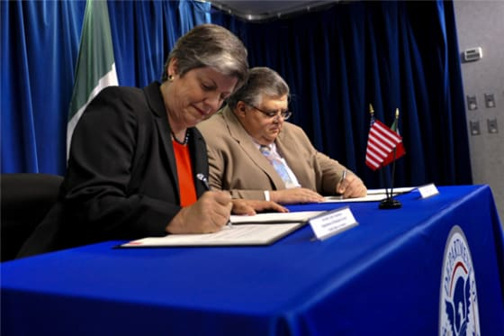 Janet Napolitano (Left) // Credit: Dept. Homeland Security Photo/Barry Bahler