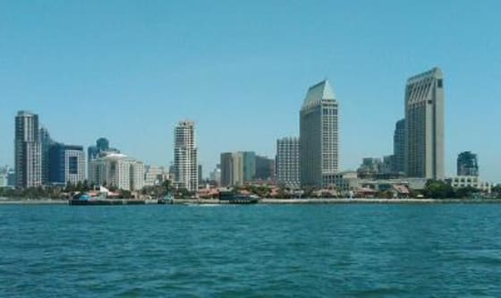 The downtown San Diego skyline view from the ferry.