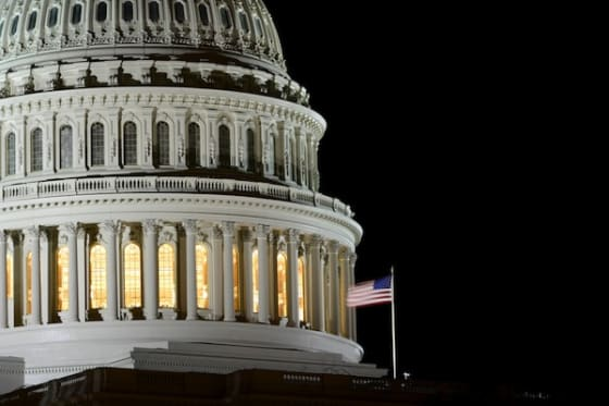 US Capitol Hill dome detail at night by Orhan Cam via Shutterstock.com
