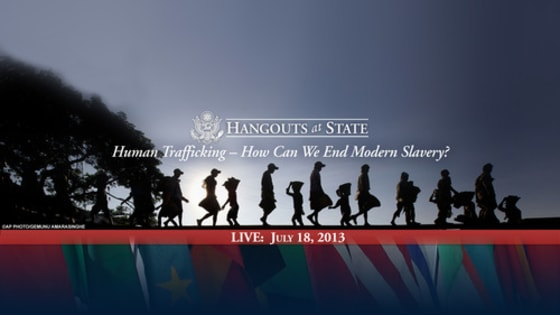 A photo posted on the State Department's tumblr promoting a Google+ Hangout with Ambassador Luis Cdebaca.