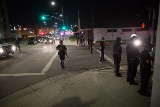Police disperse protesters in Los Angeles // Credit: Mae Ryan/KPCC