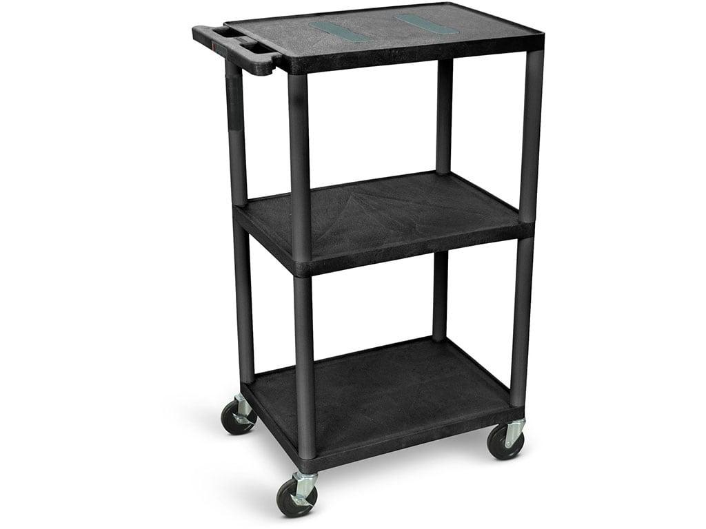 Luxor Leb42 B 42 H Endura Av Cart With Three Shelves Big Wheels Black Touchboards