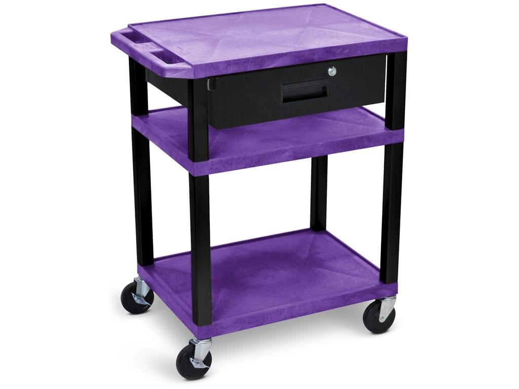 Luxor Wt34p B Wtd 34 H Av Cart 3 Shelves Drawer Black Legs Purple Touchboards