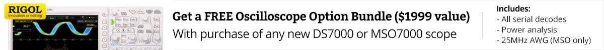 Free $1999 value option bundle with purchase of Rigol DS7000 or MSO7000 oscilloscopes