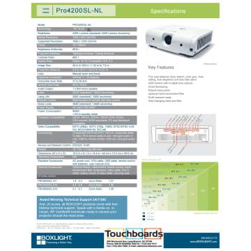 Boxlight-Pro4200SL-NL-Data-Sheet