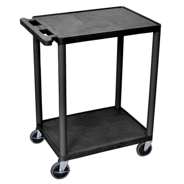 Luxor 32 x 24 Black Endura Multipurpose Presentation Cart with 2 Shelf 27H
