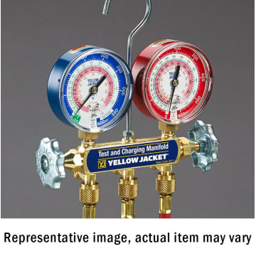 R-22//404A//410A Clamshell psi Yellow Jacket 42031 Manifold Only with 3-1//8 Color-Coded Gauges