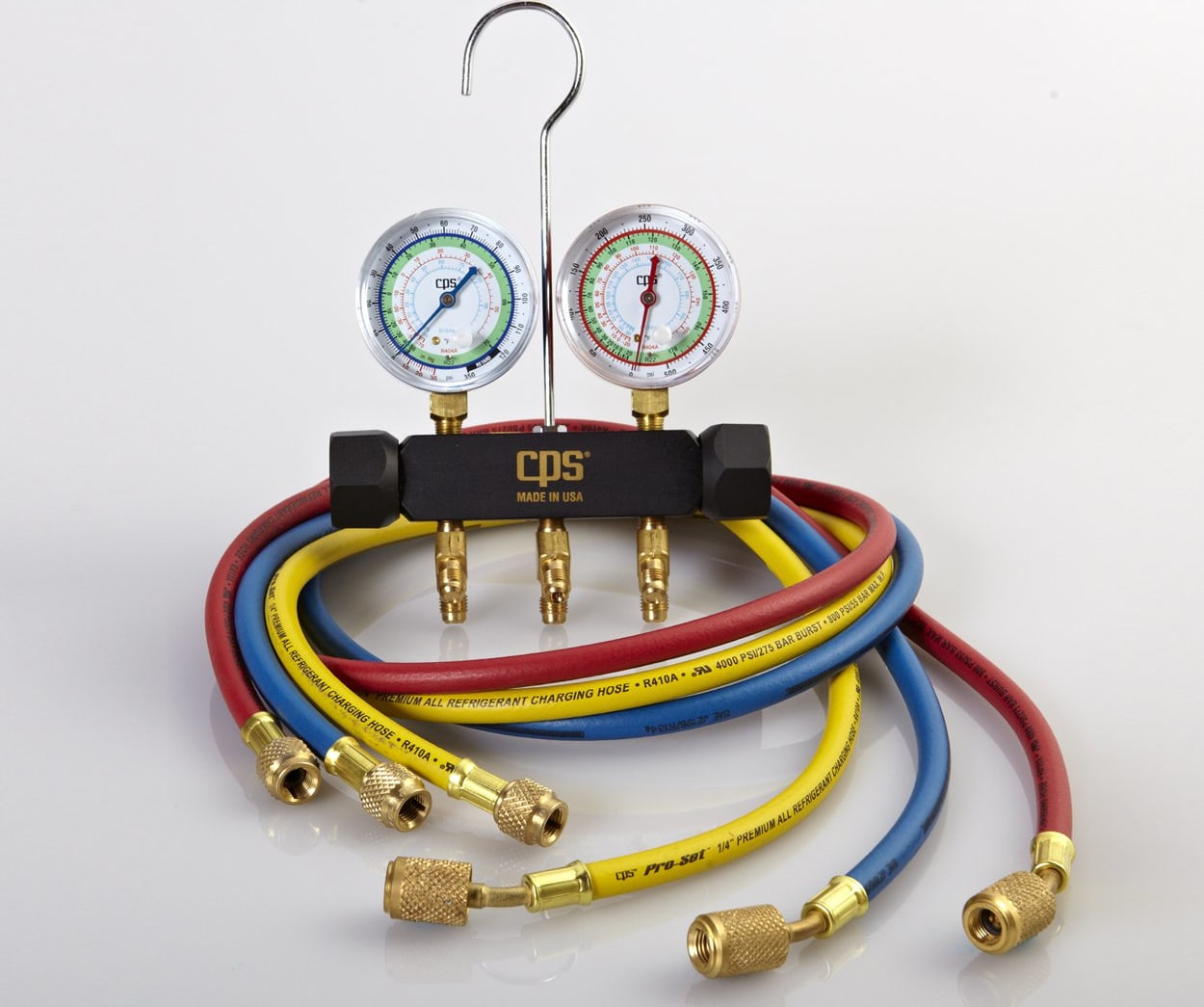 CPS Products MBCS5 MBC Black Max Pressure Manifold Set; R-12//R-22//R502 PSI//F Scales