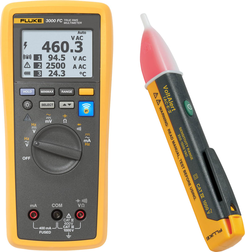 Fluke 3000FC/1AC-II Electricians DMM Voltage Tester and Accessory Kit
