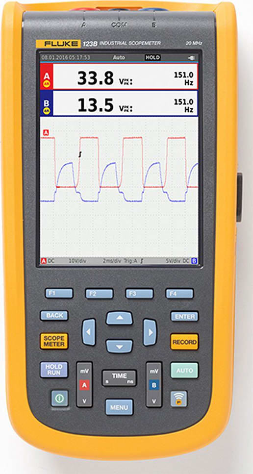 Fluke 123B/NA Industrial ScopeMeter Handheld Oscilloscope Front View