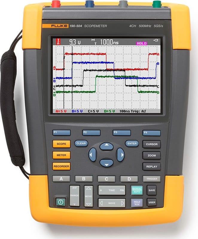 Fluke 190-204/AM Scopmeter 4 Channel 200 MHZ Color Americas