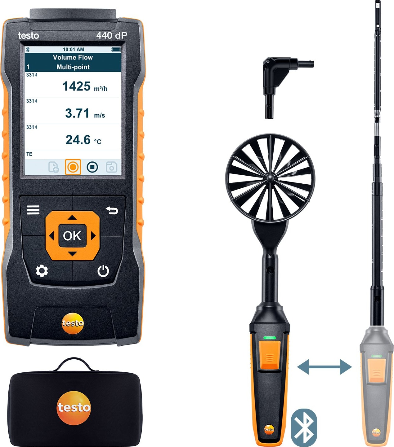 Testo 440 dP - Airflow ComboKit 1 with Bluetooth and Delta P, Part Number 0563 4409