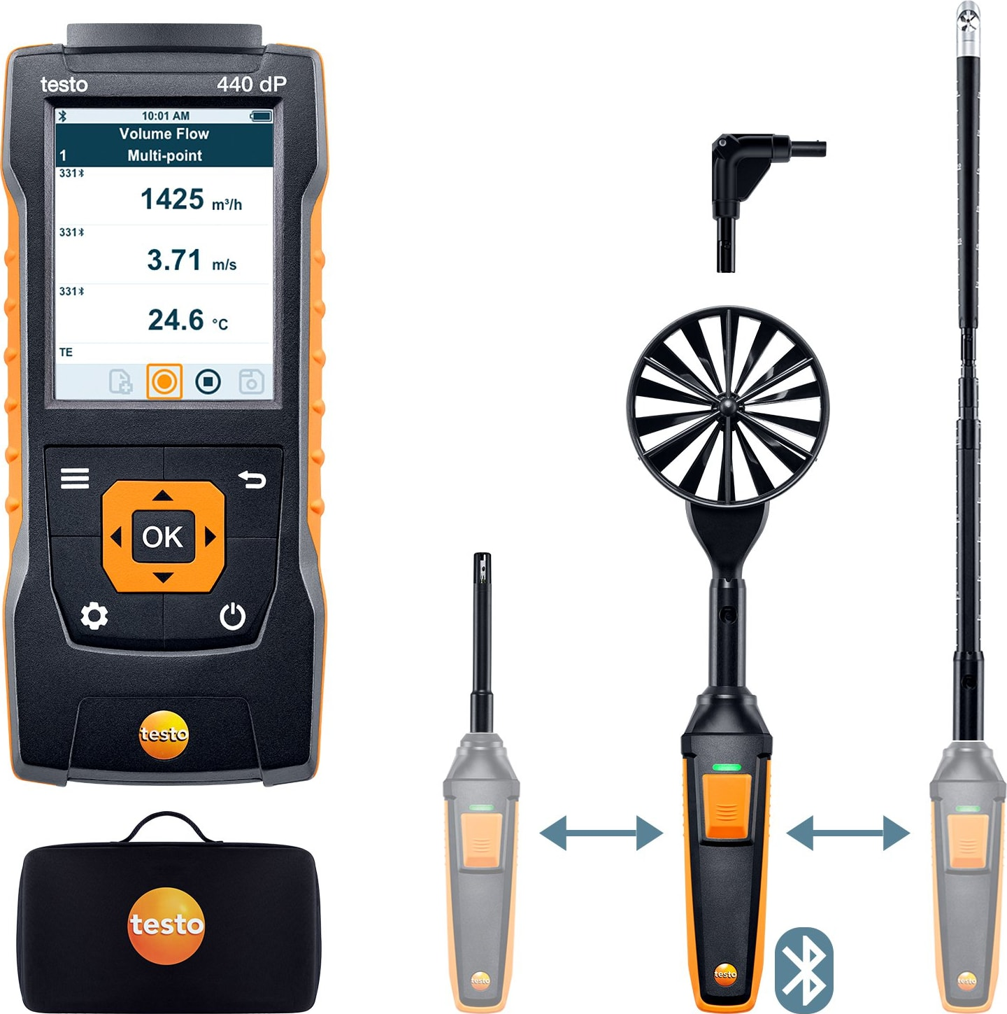 Testo 440 dP - Airflow ComboKit 1 with Bluetooth and Delta P, Part number 0563 4410