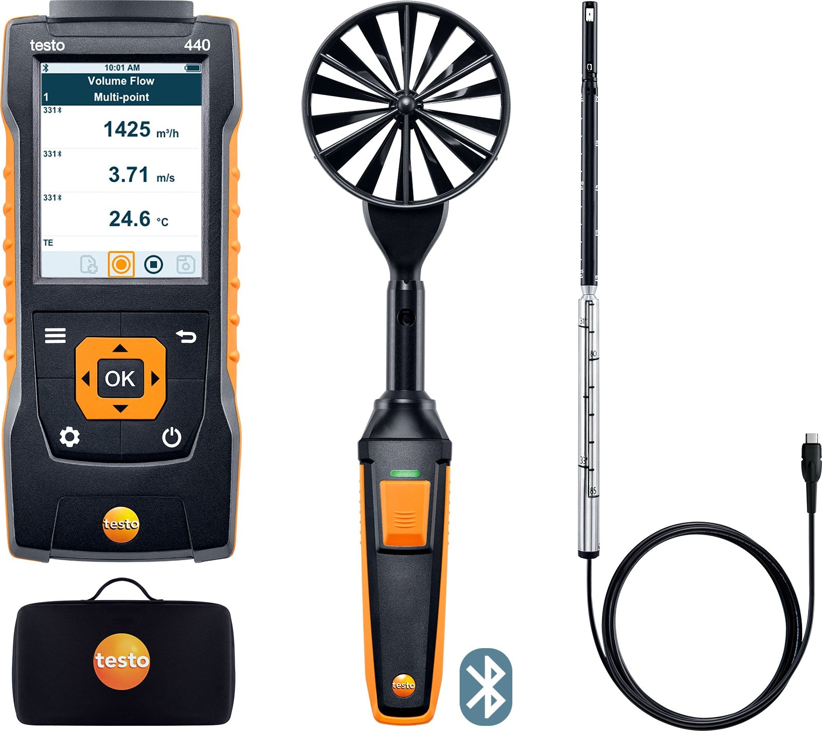 Testo 440 - Airflow Combo Kit 1 with Bluetooth, Part Number 0563 4406
