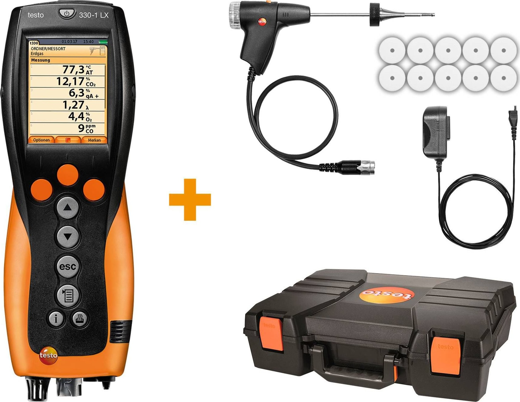 Testo 330-1 LX KIT 1 - Commercial / Light Industrial Combustion Analyzer Kit