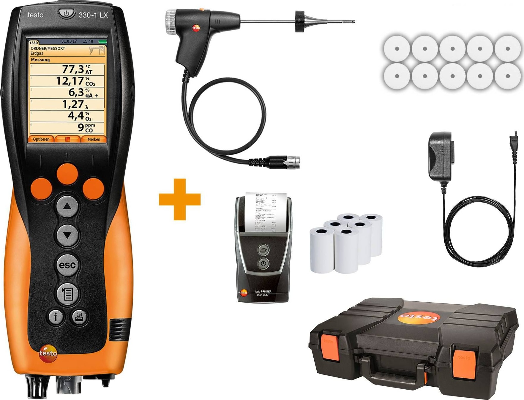 Testo 330-1 LX KIT 2 - Commercial / Light Industrial Combustion Analyzer Kit