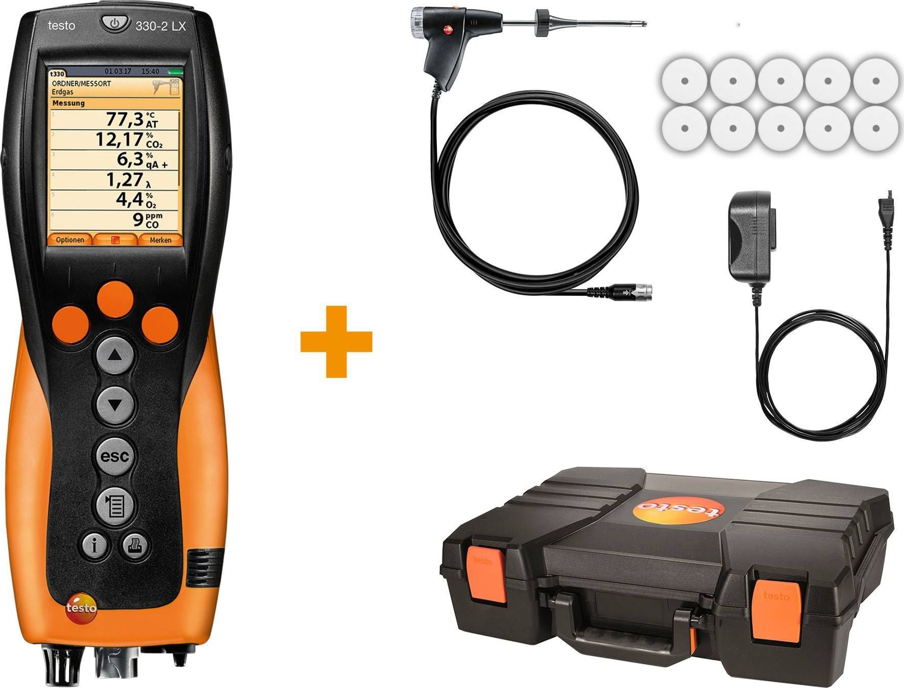 Testo 330-2 LX KIT 2 - Industrial Combustion Analyzer with NOx Measurement