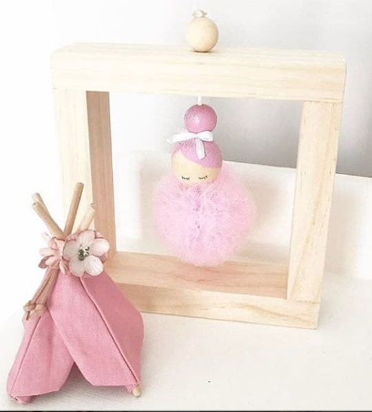 Red Tree PomPoms - Hanging Ballerina Pink Tutu
