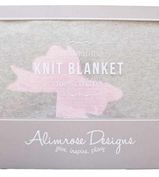 Alimrose - Knit Bows Cot Blanket 100% Cotton Grey/Pink