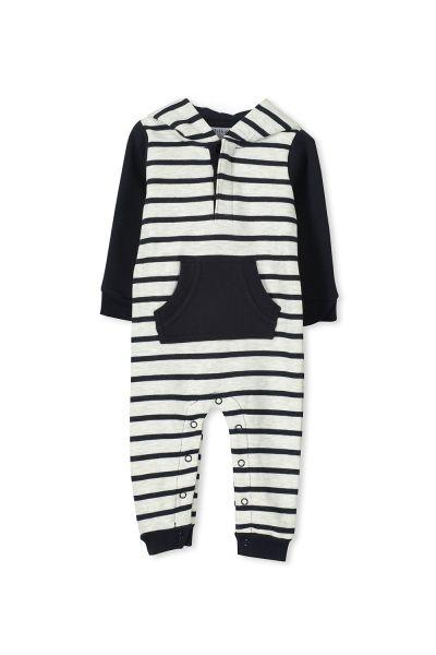 Milky - Stripe Fleece Romper