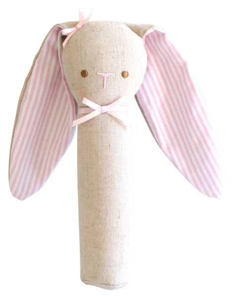 Alimrose - Bunny Rattle and Squeaker Linen - Pink
