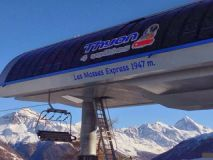 Brand new high speed 4 person chair lift from Les Masses direct into the 4 Vallées