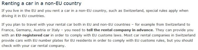 Re:Renting car in Switzerland